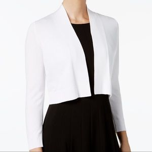 Calvin Klein Cropped Open Front Cardigan White New